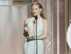 """2013 Golden Globe Awards  ( Paul Drinkwater / NBC )  Jessica Chastain accepts the award for actress in a drama for her performance in """"Zero Dark Thirty.""""    """"I've auditioned and struggled and fought and been put on the sidelines for years, and to be here in this moment is a beautiful feeling,"""" Chastain said. She also thanked director Kathryn Bigelow for creating a film with a female character who defies Hollywood conventions."""