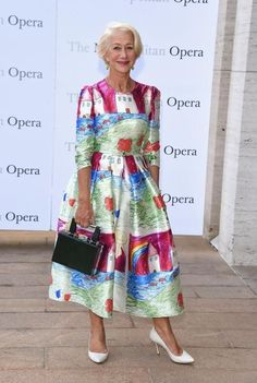 Helen Mirren Wore a Dress Covered in Kids' Drawings to the Opera I LOVE this dress, #fabulous #fun #style