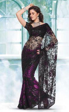 Black and Purple Net sari India Fashion, Asian Fashion, Indian Dresses, Indian Outfits, Purple Saree, Black Saree, Fashion Vestidos, Saree Dress, Indian Attire