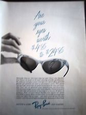 1963 Vintage Bausch & Lomb Ray-Ban Cat Eye Womens Sun Glasses Fashion Ad