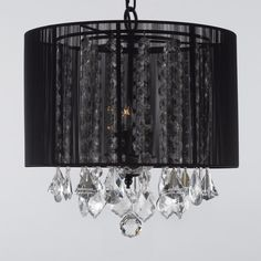 Clear crystal strands shine through the sheer black fabric drum shade on this Harrison Lane Chandelier. Glamorous crystal drops peek from below. This chandelier requires three incandescent bulbs (not included). Crystal Chandelier Lighting, Black Lamps, Black Chandelier, Chandelier Shades, Crystal Ceiling Light, Swag Light, Gallery Lighting, Drum Chandelier, Ceiling Lights