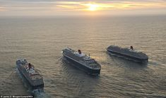 Sister act: Queen Mary 2 and her sister ships Queen Elizabeth and Queen Victoria sail in f...
