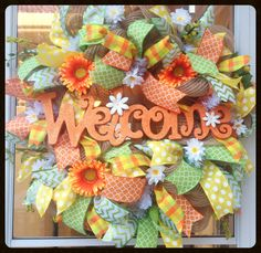 Spring Welcome Wreath - Orange and Yellow Deco Mesh Wreath - Spring Floral Wreath - Easter Door Decor - Spring Decoration - Summer Wreath by StephsDoorDecor on Etsy