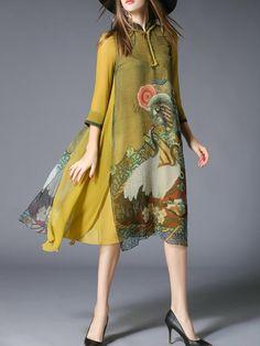 Shop Midi Dresses - Yellow Shift 3/4 Sleeve Midi Dress online. Discover unique designers fashion at StyleWe.com.