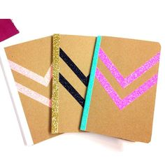 A trio of notebooks by one of our talented designers. #glitter #sparkle #chevron #diy