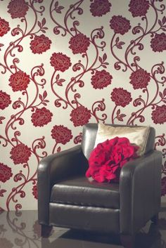 Genuine Flock Wallpaper Alanis - Red - 99150 Paste the wall/Graceful floral trail design/Lavish deep red flock trail with fitted gold print on a soft linen background/Suitable for all areas except high steam/High quality finish per roll Flock Wallpaper, Textured Wallpaper, Wall Wallpaper, Dream Furniture, Cool Furniture, Cream Living Rooms, Buy Wallpaper Online, Wallpaper Furniture, Rose Design