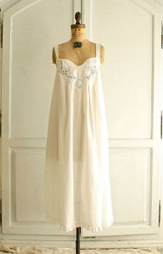 80s white cotton prairie dress nightgown by bohemiennes