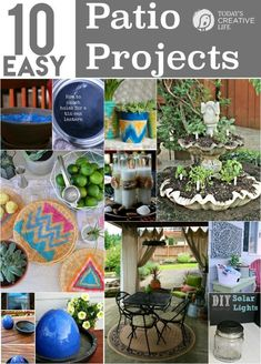 10 DIY Patio Projects you can create in one weekend or even one day! Create the patio of your dreams. Easy Outdoor projects can be found on TodaysCreativeLif...