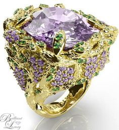 Tanzanite Ring In Gold Inspired By The Wisteria Tree & Flowers From Award Winning Jewellery Designer. Dior Jewelry, Luxury Jewelry, Antique Jewelry, Jewelery, Jewelry Accessories, Fashion Jewelry, Jewelry Design, Purple Jewelry, Fantasy Jewelry