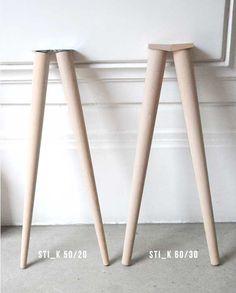 Avec les pieds compas STI_K le design de votre table basse ou haute sera de style nordique ou danois en combinant le bois massif et la teinte blanche