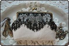 vintage purse with black lace