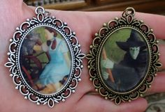 You will receive (1) handmade high gloss vintage original art Pendant.  Your choice 1) Witch or 2) Dorthy with Toto   Any glare or shadow on the image is not there in real person - it is hard to take