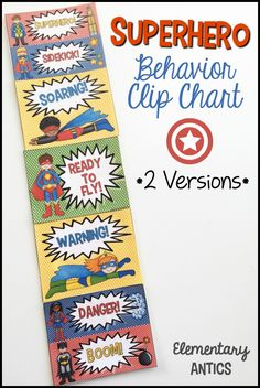 "Superhero classroom theme this year?  Help manage behavior with the Superhero Behavior Clip Chart!  There are 2 versions- the ""regular"" and the ""superhero"" version."