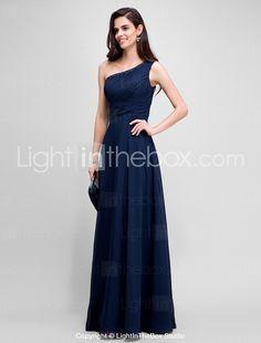64eccd393d5 [$99.99] Ίσια Γραμμή Ένας Ώμος Μακρύ Σιφόν Επίσημο Βραδινό Φόρεμα με  Χάντρες / Πιασίματα με TS Couture®