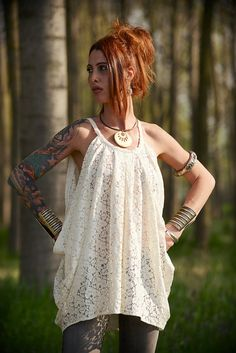 Elegant lace tunic in lovely draped San Gallo fabric. by Nmeno1, €35.00