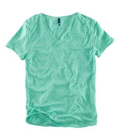 Green Marl V-neck T-shirt with decorative front buttons and raw edges at sleeves and hem from H and M