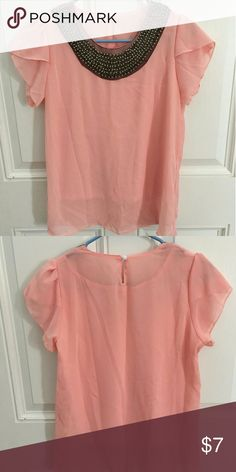 Pink chiffon blouse Very cute pink chiffon top with detail beading around the neckline with ruffled sleeves. It is a size large but runs small for being large . Bought from Shein contemporary woman's fashion clothing, Never worn! Very cute to wear to work or out in the town. Tops Blouses