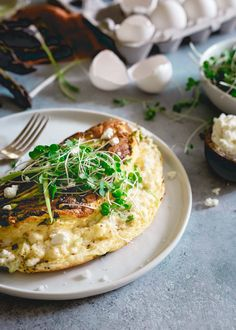 This omelette soufflé is a light and fluffy breakfast bursting with fresh spring ingredients like asparagus, green onions and optional creamy tart goat cheese. | @lovemysilk #Silkproteinnutmilk #sponsored