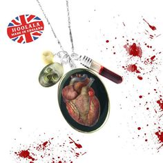 Anatomical Victorian Anatomy Heart Skull and Blood Charm Necklace by hoolala, $52.50