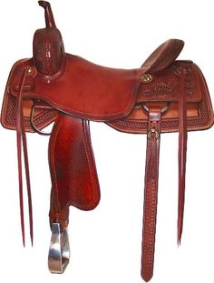 Nice cutting saddle made with chestnut leather from Paul Custom Saddlery.  www.ranchhorseoutfitters.com