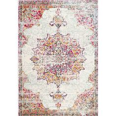 Gallery-worthy grace isn't only found in artful canvas prints - bring the beauty of a stylish studio right onto your floor space with this alluring area rug! Made in Turkey, it is machine woven of 100% polypropylene with a low pile height for a casual and easy to clean design. Though its construction may be classic, its pattern is certainly a standout. Offering an intricate and gently distressed scrolling Persian-inspired motif, it offers a rainbow array of hues in beige, pink, blue, yell...
