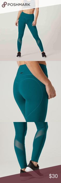 Teal my protein heartbeat mesh leggings Size is small but fit more like an XS. This color is sold out online. Super great compression and they are so comfy. These ones were just a little snug on me. Slightly long but you can roll them underneath and can't tell. High quality mesh and stitching on bum to make it look great. myprotein Pants Leggings