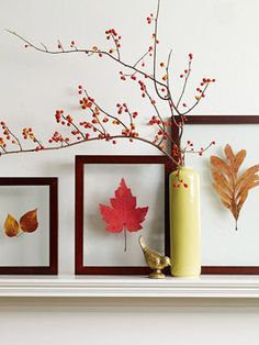 Pretty Leaf Pressings  To preserve the beauty of colorful fall foliage, press leaves between books. When fully dry, display leaves between two pieces of same-sized glass. Secure the pieces of glass together by wrapping the edges with colored, linen book cloth tape. Add a berry-covered branch for a simple, yet elegant mantel display.