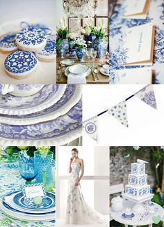 Blue and White Porcelain Wedding Ideas Mood Board from The Wedding Community