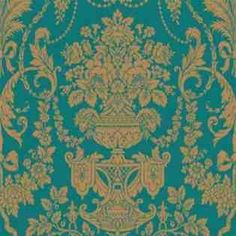wallpaper in teal and gold damask