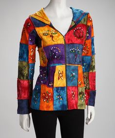 Add originality to an ensemble with this eclectic jacket. Decked out in a colorful patchwork pattern, it frames the figure in funky fashion. Note: This item is handmade. Colors may differ from those shown.