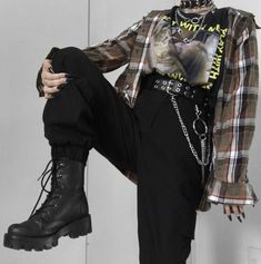 Grunge Outfits, Edgy Outfits, Teen Fashion Outfits, Mode Outfits, Retro Outfits, Cute Casual Outfits, Girl Outfits, Mode Emo, Mode Hipster