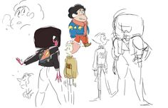 """Steven, Garnet, and Pearl in Sweaters"" by Rebecca Sugar"