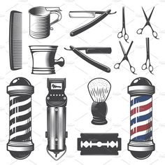 Set of vintage barber shop elements. by Oleksii on Set of vintage barber shop elements. by Oleksii on Barber Tattoo, Barber Logo, Barber Razor, Barbershop Design, Oldschool, Cat Tattoo, Beard Tattoo, Small Tattoos, Dove Tattoos