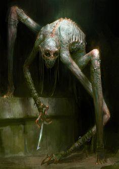 Dark fantasy sketch by Bjorn Hurri Dark Fantasy Art, Fantasy Kunst, Arte Horror, Horror Art, Creepy Horror, Creepy Drawings, Creepy Art, Art Drawings, Monster Design