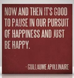 Exactly, just live in the moment for a bit and enjoy what you have