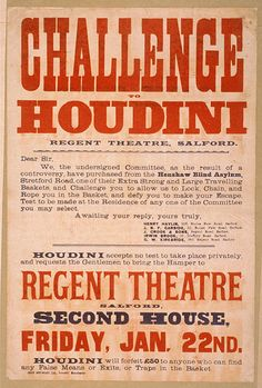 """Poster promoting Houdini taking up the challenge of escaping an """"extra strong and large traveling basket"""""""