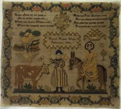 EARLY 19TH CENTURY FIGURE, DONKEY & COW SAMPLER BY HARRIET HOPE - 1839