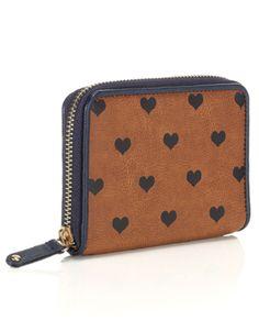 Heart Print Zip Around Purse | Brown | Accessorize