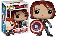 Funko - Pdf00005545 - Pop - Marvel - Avengers 2 - Black Widow avec Cap'S Shield 103 - Noir/Gris