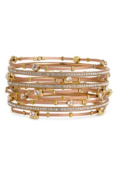 Seasonal Whispers Crystal & Metal Stainless Steel Bangles (Set of 6)