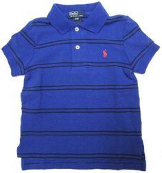 Ralph Lauren Toddler Boys Polo Shirt in Royal Blue, Black Stripes; Red Pony $38.99