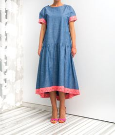 Denim maxi dress, denim dress, high low dress, blue dress, party dress - Everything you are looking Spring Dresses, Blue Dresses, Vintage Dresses, Dresses With Sleeves, Dress Summer, Maxi Dresses, Trendy Dresses, Casual Dresses, Short Dresses