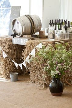What a fun way of creating a bar for a rustic wedding party! Our galvanised metal buckets, apple crates and plaques would fit perfectly with this setting. Get the perfect low cost wedding decoration from www.craftmill.co.uk