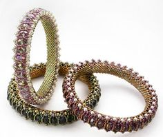 """Cynthia Rutledge's """"Honeycomb bangles"""" *** UPDATED/CORRECTED *** details (pdf) for pattern in the April 2011 issue of Bead & Button Magazine"""