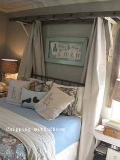 An old ladder makes a unique canopy for a bed. Unique Ways to Decorate with Vintage Ladders - Driven by Decor) Home Bedroom, Bedroom Furniture, Master Bedroom, Bedroom Decor, Bedroom Ideas, Bed Ideas, Headboard Decor, Picket Fence Headboard, Mirror Headboard