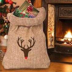 EXTRA LARGE Rudolph the reindeer hessian jute par Scriptingle