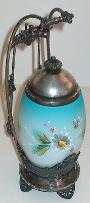 James w Tufts Victorian Blue Satin Enameled Art Glass Insert Pickle Castor Brides Basket, Condiment Sets, Pickle Jars, Decorated Jars, Victorian Art, Pickling, Blue Satin, Antique Glass, Cookie Jars