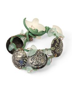 Vintaj - B0359 - Ocean Treasures by Betsy Kaage [DecoEtch & dapped Arte Metal Blanks, patina'd and wired to leather for a rustic, beach bracelet!]