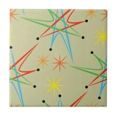 Atomic Starburst Retro Multicolored Pattern Tile