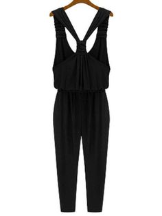 Ruched Strap Back Knotted Jumpsuit